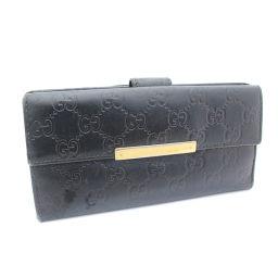 GUCCI グッチ 二つ折り GGシマ 112715 長財布 型押しレザー ブラック ユニセックス【中古】