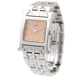 HERMES エルメス Hウォッチ HH1.210 腕時計 ピンク文字盤 クオーツ シルバー レディース【中古】