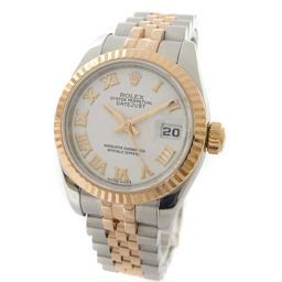 ROLEX ロレックス デイトジャスト 179171 / V番 腕時計 ホワイト文字盤 自動巻き シルバー ピンクゴールド レディース【中古】