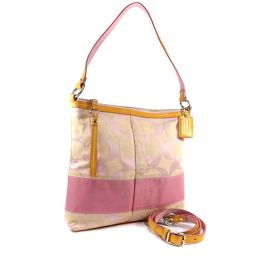 COACH Coach Convertible 2WAY Signature F13674 Shoulder Bag Canvas / Leather Pink Beige Ladies [Used]