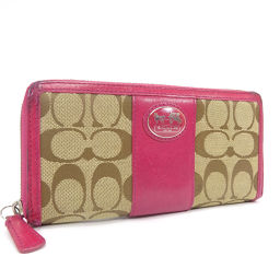 COACH Coach Round Zipper Signature Stripe Long Wallet Canvas / Leather Pink Brown Ladies [Used]