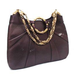 GUCCI Gucci bamboo 135962 shoulder bag leather purple women [pre]