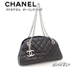 CHANEL 【シャネル】マドモアゼル チェーン ショルダーバッグ 黒 ブラックボーリングバッグ リザード