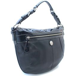 COACH Coach Laura Leather Hobo F14886 Shoulder Bag Leather / Patent Leather Black Ladies [Pre]
