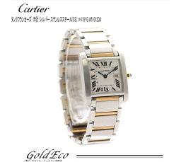 Cartier カルティエ タンクフランセーズMM クォーツ 腕時計 ボーイズ ホワイト文字盤 SS×YG コンビ W51012Q4 【中古】