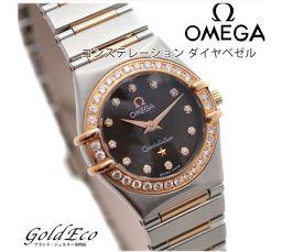 【超美品】OMEGA【オメガ】 コンステレーション ダイヤベゼル ミニレディース腕時計【中古】 1360.60 クォーツ 18Kピンクゴールド/SS ダークブラウン文字盤
