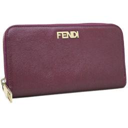 FENDI フェンディ ロゴ ラウンドファスナー 8M0024 長財布 型押しレザー パープル レディース【中古】