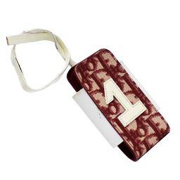 Christian Dior クリスチャンディオール トロッター スマホ 携帯電話 ケース 携帯・スマホアクセサリー キャンバス レッド/ホワイト レディース【中古】
