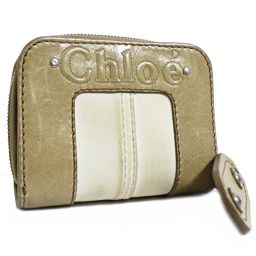 Chloe クロエ ラウンドファスナー 二つ折り財布 レザー ベージュ レディース【中古】