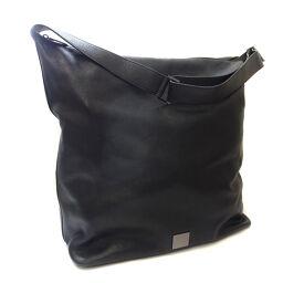 CELINE Celine Logo Diagonal Shoulder Bag Leather Black Ladies [Used]