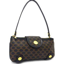 CELINE Celine Macadam Patterned Shoulder Bag PVC / Leather Black Brown Women's [Pre]