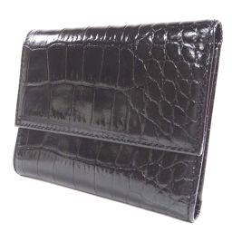 Furla フルラ クロコ型押し 三つ折り財布 型押しレザー ブラック ユニセックス【中古】