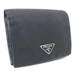 PRADA プラダ 三角プレート M668 二つ折り財布 ナイロン ブラック ユニセックス【中古】