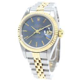 ROLEX ロレックス デイトジャスト SS/YG 69173/S番 腕時計 ネイビー文字盤 自動巻き イエローゴールド シルバー レディース【中古】