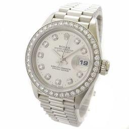 ROLEX ロレックス デイトジャスト ダイヤベゼル 69136G / W番 腕時計 自動巻き プラチナ シルバー レディース【中古】