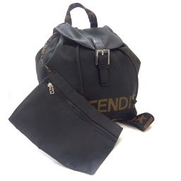 FENDI Fendi Vintage Logo Backpack Daypack Nylon / Canvas Black Brown Ladies [Used]