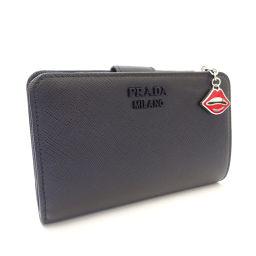 PRADA プラダ リップチャーム L字ファスナー サフィアーノ 1ML225 2CHR F0002 二つ折り財布 レザー ブラック レディース【中古】