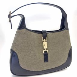 GUCCI Gucci Jackie Semi 001 3306 Shoulder Bag Canvas / Leather Gray Black Ladies [Used]