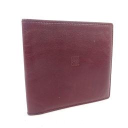 LOEWE ロエベ アナグラム 札入れ 二つ折り財布 レザー ボルドー レディース【中古】