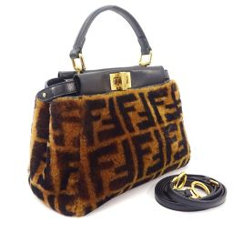 FENDI Fendi Zucca Pattern Mini Peekaboo 8BN244 Handbag Mouton / Leather Brown Black Ladies [Used]