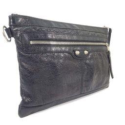 BALENCIAGA Balenciaga Classic Clip M 273022 Clutch Bag Leather Black Unisex [Used]