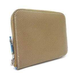 HERMES Hermes Azap Compact Silk-in Round Zipper Wallet □ o Engraved Coin Case Vaux Epson Etup Ladies [Used]