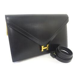 HERMES Hermes Liddy ○ M engraved shoulder bag box calf black ladies [used]