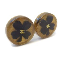CHANEL Four Leaf Clover Earrings GP / Plastic Gold Black Ladies [Used]
