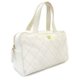 CHANEL Wild Stitch Mini Boston Bag A18121 Handbag Leather White Ladies [Used]