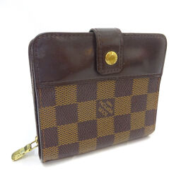 LOUIS VUITTON Louis Vuitton compact zip N61668 double fold wallet Damier canvas brown ladies [pre-owned]