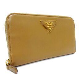PRADA Prada Round Zipper 1M0506 Long Wallet Leather Brown Ladies [Used]