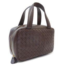 BOTTEGAVENETA Bottega Veneta Intrecciato Cosmetics Bag 147740 Handbag Leather Dark Brown Ladies [Used]