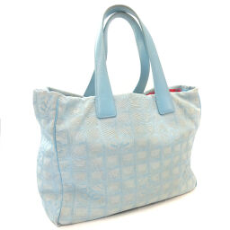 CHANEL New Travel Line Tote MM A15991 Tote Bag Nylon / Leather Blue Ladies [Used]