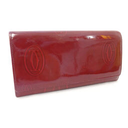 CARTIER Cartier Folded Happy Birthday Long Wallet Patent Leather Red Ladies [Used]