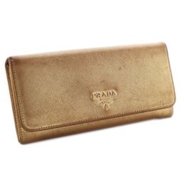 PRADA Prada Safiano Folded 1M1132 Long Wallet Embossed Leather Gold Women's [Pre]