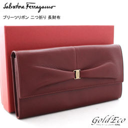 Salvatore Ferragamo 【Salvatore Ferragamo】 Pleated ribbon leather folding wallet 22 A 749 Bordeaux
