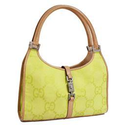 GUCCI Gucci handbag Jackie bracket 002 · 1068 · 001998 Shoulder bag GG canvas / leather yellow green beige women [pre]