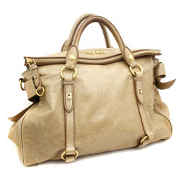 MIUMIU Miu Miu ribbon RT0365 handbag leather beige women [pre]