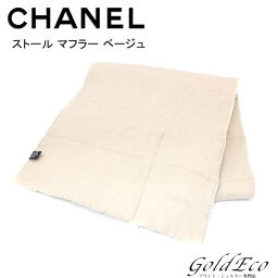 CHANEL 【ス ト ー ル ル】 Stole Scarf Beige Beauty Product Apparel 【Used】 Womens Logo Blanket with Cotton