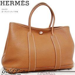 【送料無料】HERMES【エルメス】ガーデンパーティTPM □M刻印ミニトートバッグ ネゴンダブラウン 茶