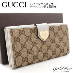 GUCCI 【Gucci】 GG Canvas Leather W Hook Folded Purse 203550 Heart Logo Beige White White Women