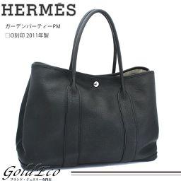 【送料無料】HERMES【エルメス】ガーデンパーティーPM□O刻印 2011年製【中古】ブラック シルバー金具ネゴンダ