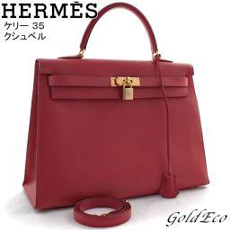 【Free Shipping】 HERMES 【Hermes】 Kerry 35 Kushvel Handbag Ladies Shoulder Rouge Viff