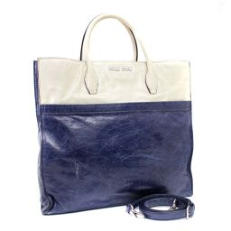 MIUMIU Miu Miu 2WAY by color RN0945 tote bag leather navy ivory ladies [pre-owned]