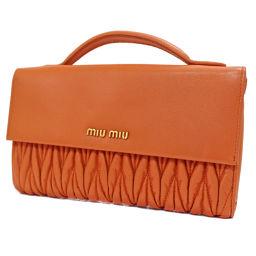 MIUMIU ミュウミュウ 二つ折り マテラッセ 5M1368 長財布 レザー オレンジ レディース【中古】