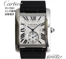 Cartier [Cartier] Tank MC Men's Automatic Watch Leather Belt Date Display Black Silver Dial Skeleton Back Small Seconds Stainless Roman Index W5330003 [pre]