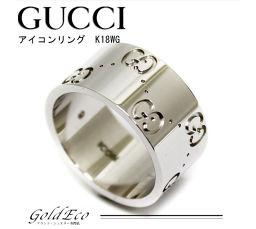 【新品仕上げ済み】 GUCCI【グッチ】アイコン リング 約8号ワイド サイズ GGリングK18WG 750WG 指輪 ホワイトゴールド