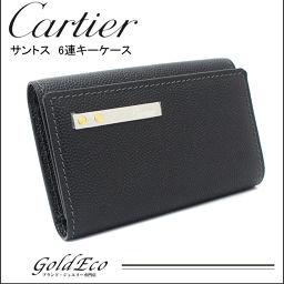 【美品】Cartier【カルティエ】サントス 6連キーケースL3000775 小物 ブラック 黒 レザーメンズ レディース【中古】
