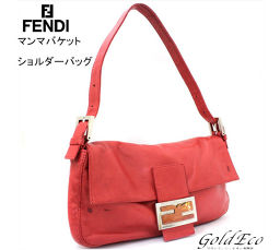 FENDI【フェンディ】マンマバケット ショルダーバッグ レッド レザー ナッパレザー ハンドバッグ 赤