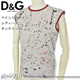 D & G [Dolce & Gabbana] Paint Design Women's Tank Top Gray Red Cotton M size [Pre] D & G